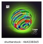 globe neon web emblem. media.... | Shutterstock .eps vector #464238365