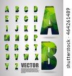 premium polygon alphabet font... | Shutterstock .eps vector #464261489