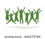 group of children jumping  ... | Shutterstock .eps vector #464275784