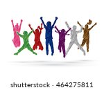 group of children jumping  ... | Shutterstock .eps vector #464275811