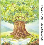 tree of wisdom  oil painting ... | Shutterstock . vector #464275931
