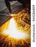 welder in workshop... | Shutterstock . vector #464286809