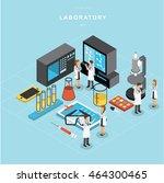 isometric laboratory vector... | Shutterstock .eps vector #464300465