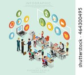 isometric business people... | Shutterstock .eps vector #464300495