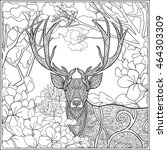 coloring page with deer in... | Shutterstock .eps vector #464303309
