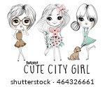 cute girls illustration | Shutterstock .eps vector #464326661