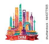 china detailed skyline. vector... | Shutterstock .eps vector #464377505