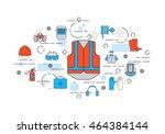 thin line flat design banner of ... | Shutterstock .eps vector #464384144