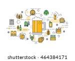 thin line flat design banner... | Shutterstock .eps vector #464384171