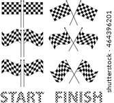 checkered flags set for racing... | Shutterstock .eps vector #464396201