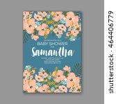 baby shower invitation template ... | Shutterstock .eps vector #464406779