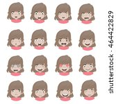 emotions faces vector... | Shutterstock .eps vector #464422829