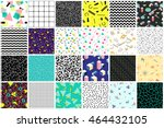 Abstract seamless patterns 80's-90's styles. Trendy memphis style. Colorful geometric background set. | Shutterstock vector #464432105