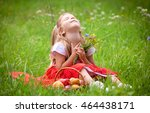 beautiful little girl picking... | Shutterstock . vector #464438171