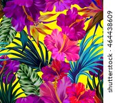 vector floral composition with... | Shutterstock .eps vector #464438609