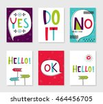 set of 6 cute creative cards... | Shutterstock .eps vector #464456705