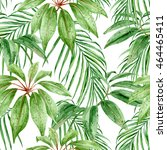 tropical leaves  jungle... | Shutterstock . vector #464465411