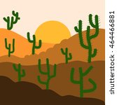 Cactus Plants In Desert Sunset...