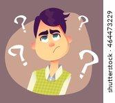 purple haired man thinking... | Shutterstock .eps vector #464473229