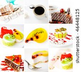 collage of cake on a white... | Shutterstock . vector #46448125