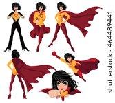 superhero woman cartoon action... | Shutterstock .eps vector #464489441