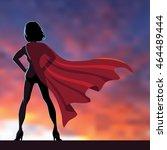 superhero woman cartoon... | Shutterstock .eps vector #464489444