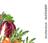 watercolor vegetables frame... | Shutterstock . vector #464506889