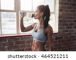 fit young woman drinking water... | Shutterstock . vector #464521211