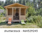 Wooden Gazebo With Barbecue In...