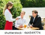 young happy businesspeople... | Shutterstock . vector #464549774