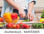 girl's hand with a knife... | Shutterstock . vector #464553005
