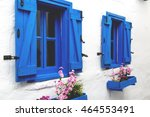 classical whitewashed aegean... | Shutterstock . vector #464553491