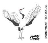 japanese dancing crane. vector... | Shutterstock .eps vector #464556251