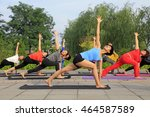 tangshan   july 3  women doing... | Shutterstock . vector #464587589