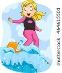 illustration of a little girl... | Shutterstock .eps vector #464615501
