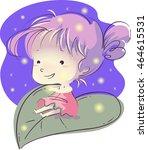 illustration of a little girl... | Shutterstock .eps vector #464615531
