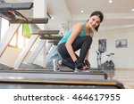 workout on a treadmill at gym . ... | Shutterstock . vector #464617955