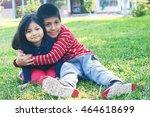 latin siblings hugging in the... | Shutterstock . vector #464618699