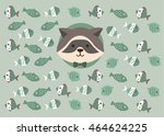 card with cute raccoon in a... | Shutterstock .eps vector #464624225