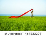 young lady runing with tissue... | Shutterstock . vector #464633279