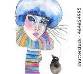 ice queen   ink and watercolor... | Shutterstock . vector #464634995