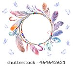 watercolor colorful feathers... | Shutterstock . vector #464642621