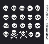 set of doodle skulls with bones   Shutterstock .eps vector #464643611
