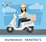 fast delivery. delivery girl... | Shutterstock .eps vector #464655671