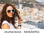 fashion summer monaco. young... | Shutterstock . vector #464656961