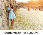 beautiful young brunette woman... | Shutterstock . vector #464689091