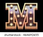golden lamp signboard font.3d... | Shutterstock . vector #464692655