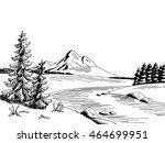 Mountain River Graphic Art...