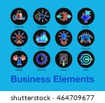 flat line icons set of business ...   Shutterstock .eps vector #464709677