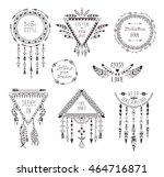 hand drawn boho style frames...   Shutterstock .eps vector #464716871